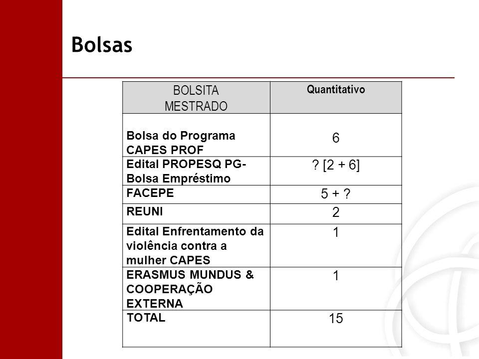 Bolsas BOLSITA MESTRADO 6 [2 + 6] 5 + 2 1 15 Quantitativo